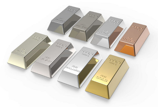 Palladium, Platinum and White Gold - Metal Illustration