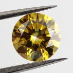Fancy Deep Brownish Yellow Diamond, Round, 1.00 carat, VS2