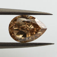 Fancy Yellow Brown Diamond, Pear, 1.55 carat