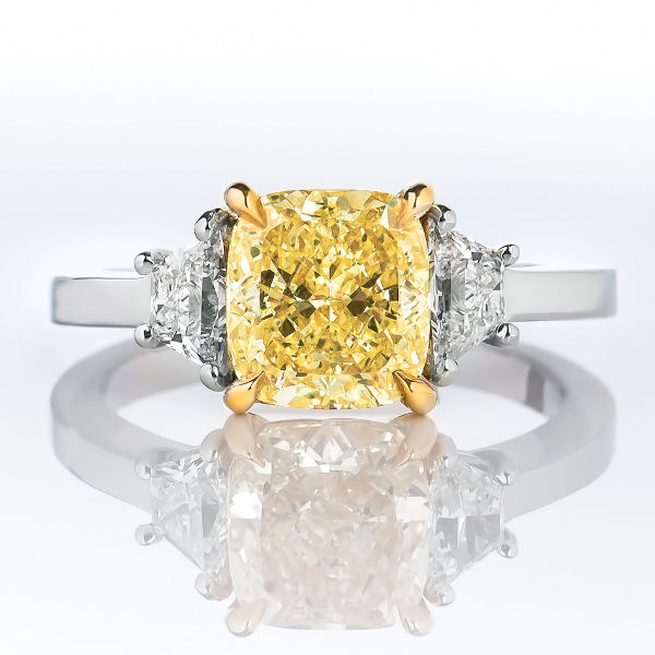 Cushion 3 Stone Fancy Yellow Diamond Engagement Ring 2 63 t w SI2