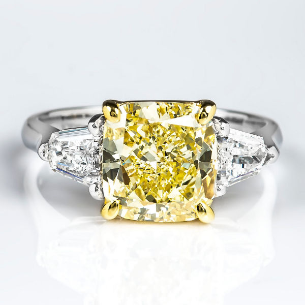 Cushion 3 Stone Fancy Yellow Diamond Engagement Ring, 3.76 t.w, VVS2