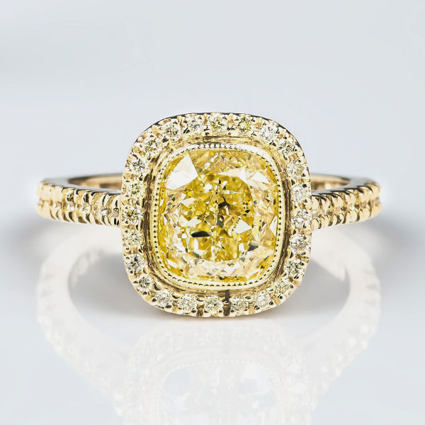 Cushion Halo Fancy Light Yellow Diamond Engagement Ring 2 42 t w VS1