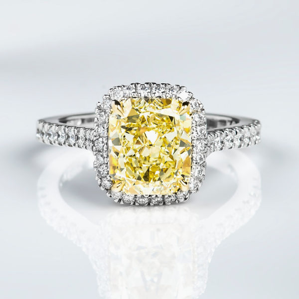 Radiant Halo Fancy Yellow Diamond Engagement Ring 3 54 t w VVS2