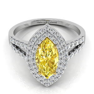 Double Halo Marquise Cut Yellow Diamond Engagement Ring With Split Shank