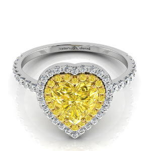 Yellow Melee Halo Heart Yellow Diamond Engagement Ring