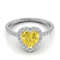 Halo Heart Shaped Yellow Diamond Engagement Ring