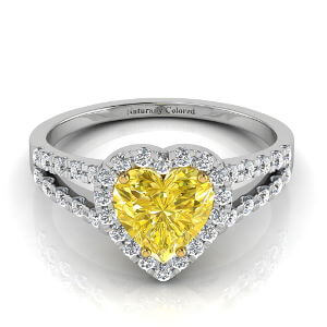 Halo Heart Shaped Yellow Diamond Engagement Ring with Split Shank