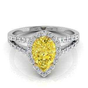 Halo Pear Shape Yellow Diamond Engagement Ring with Split Shank