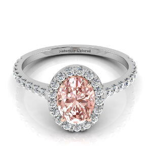 Halo Oval Pink Diamond Engagement Ring