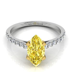 Pave Solitaire Marquise Cut Yellow Diamond Engagement Ring