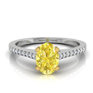 Channel Setting Oval Yellow Diamond Engagement Ring
