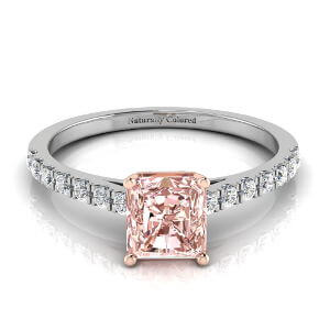 Pave Radiant Cut Pink Diamond Engagement Ring