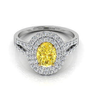 Double Halo Oval Yellow Diamond Engagement Ring with Split Shank
