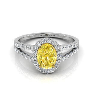 Halo Oval Yellow Diamond Engagement Ring with Split Shank