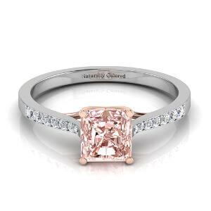 Tapered Channel Setting Solitaire Radiant Cut Pink Diamond Engagement Ring