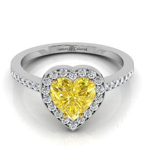 Vintage Halo Heart Shaped Yellow Diamond Engagement Ring