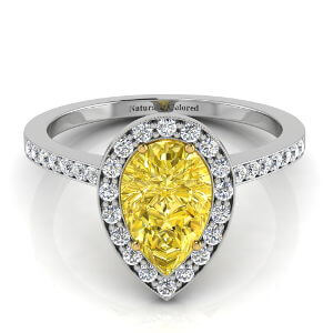Vintage Halo Pear Shape Yellow Diamond Engagement Ring