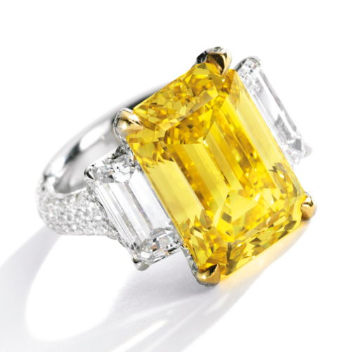 10.30 carat Fancy Vivid Yellow VS1 emerald cut diamond