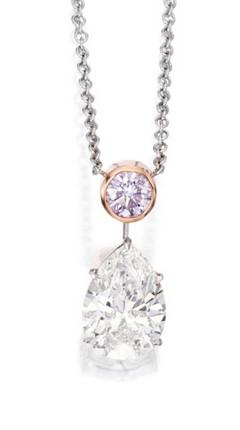 Pear Shaped Diamond Necklace with Dangling Purple Diamond
