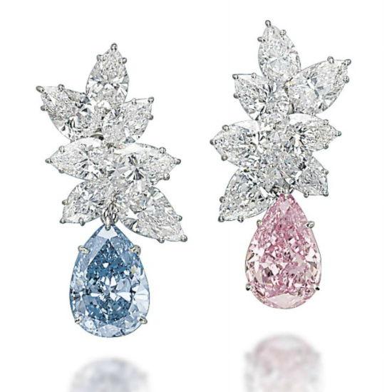 Vivid Blue and Vivid Pink Diamond Earrings by Bulgari