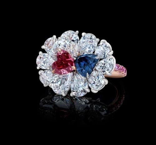 Red And Blue Violet Diamonds Unite In A Ring Naturally