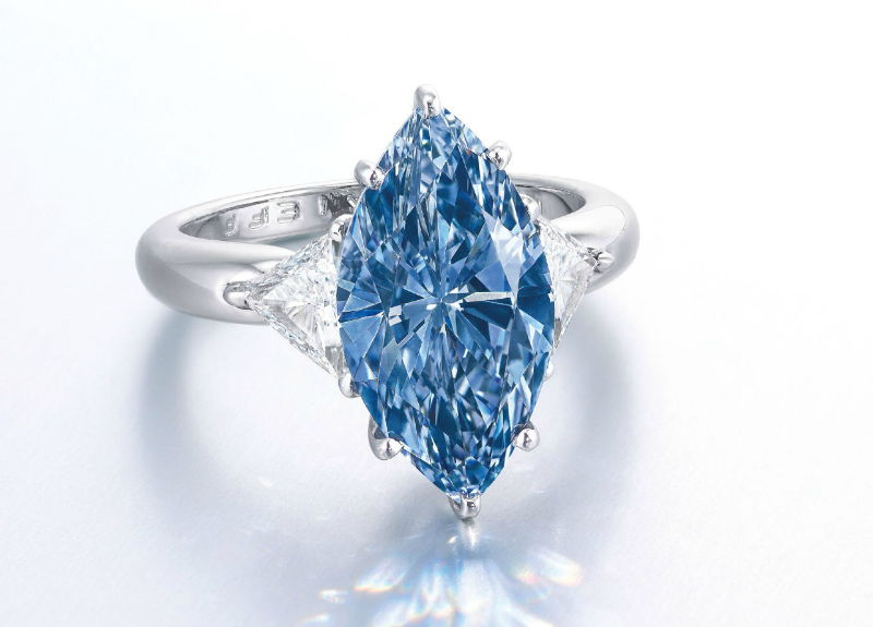 Vivid Blue Diamond Ring, IF 4.29 carat