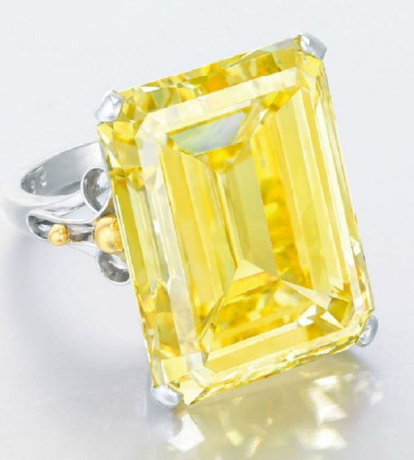 28.78 carat Vivid Yellow Diamond vvs1 Emerald Cut