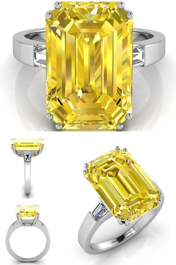 George Clooney Yellow Diamond Engagement Ring - illustration by Naturally Colored