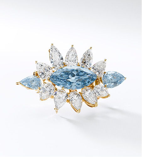Intense Blue Diamond brooch by Alexandre Reza