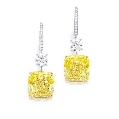 Intense Yellow Diamond Pendent Earrings