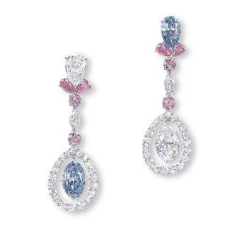 Mismatching Colored Diamond Earrings By Nirav Modi