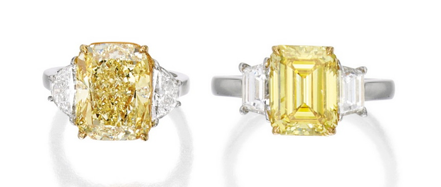 Vivid Yellow Diamond Ring VS Intense Yellow Diamond Ring at Sotheby's