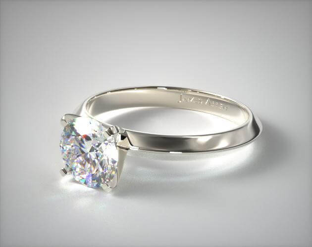 18K WHITE GOLD 2MM KNIFE EDGE SOLITAIRE ENGAGEMENT RING