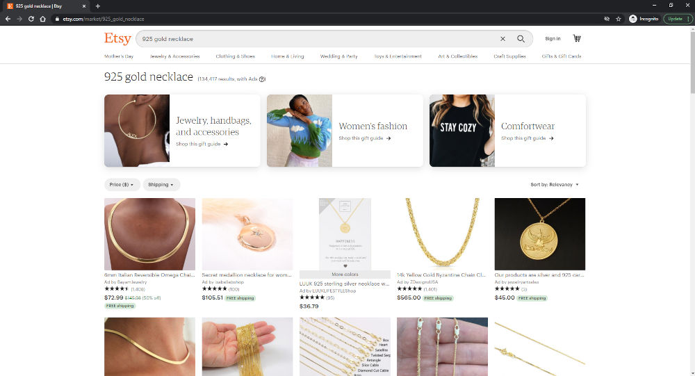 925 Gold Search Results on Etsy