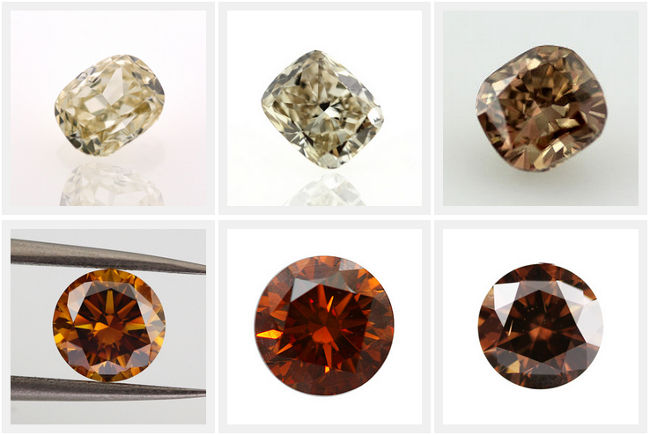 Champagne Diamonds Color Chart from C1 to C7 Cognac