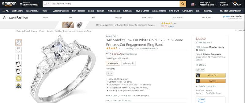 Cubic Zirconia Ring At Amazon
