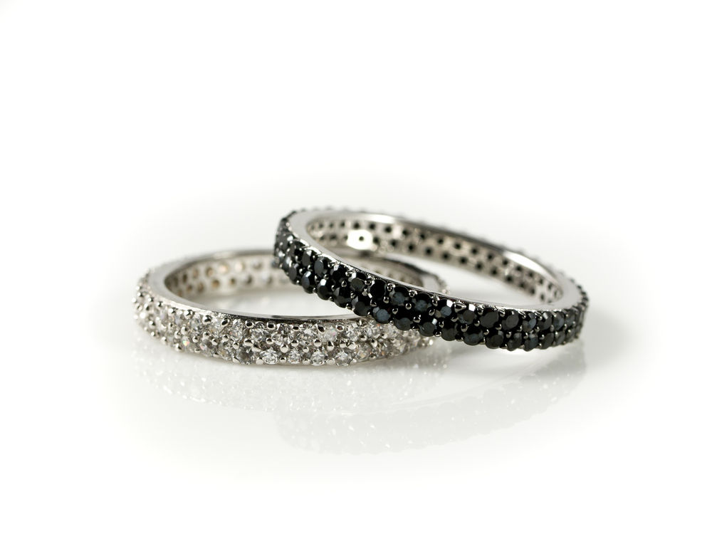 White And Black Diamonds Eternity Rings