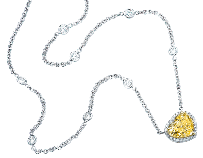 Yellow Colored Diamond Necklace