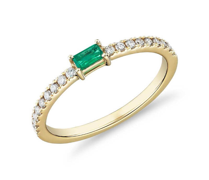 Baguette Emerald & Diamond Pave Stacking Ring