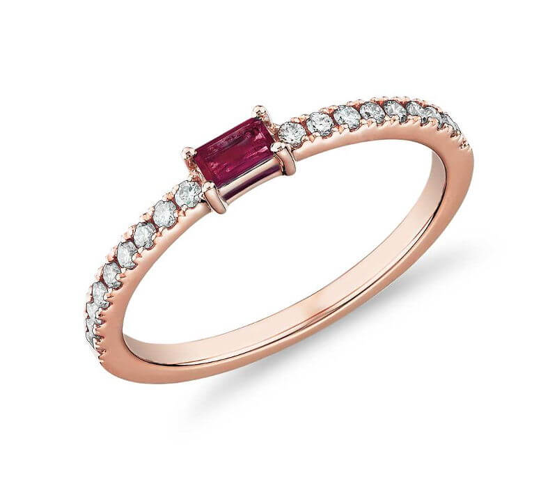 Baguette Ruby and Diamond Pave Stacking Ring