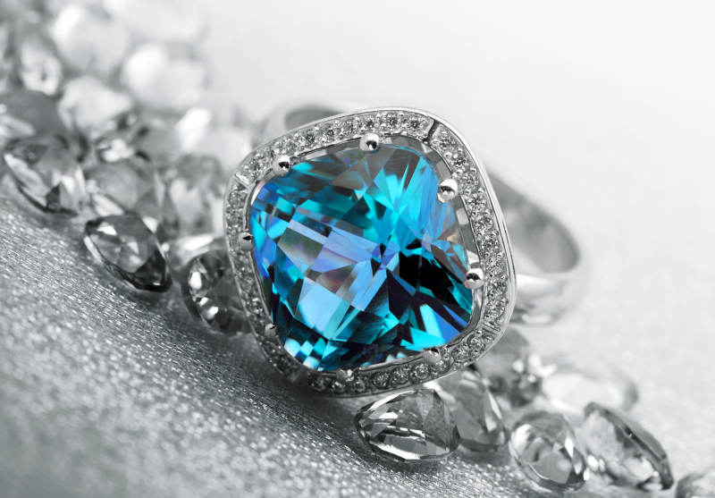 Blue Topaz and Diamonds Ring for December Birthstone Gift