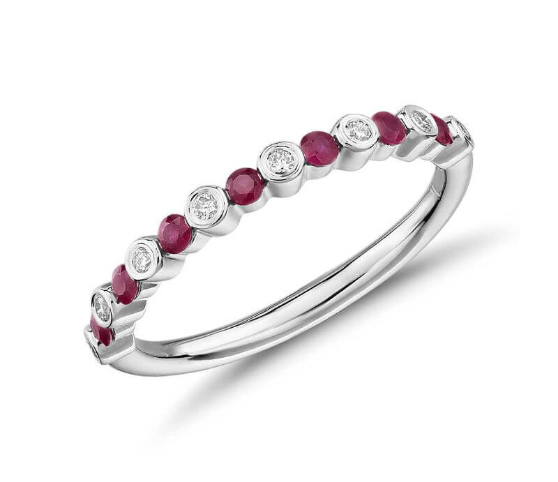 Petite Alternating Ruby and Diamond Stacking Ring