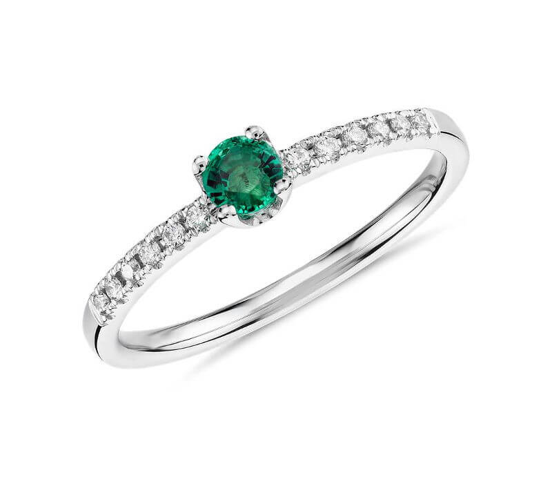 Petite Emerald Stacking Diamond Ring