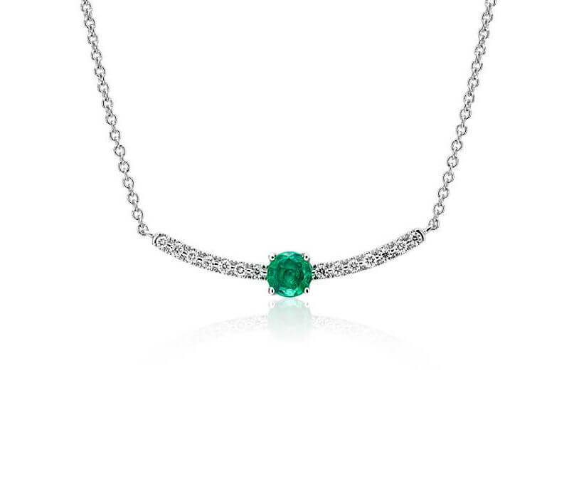 Petite Emerald & Diamond Curved Bar Necklace