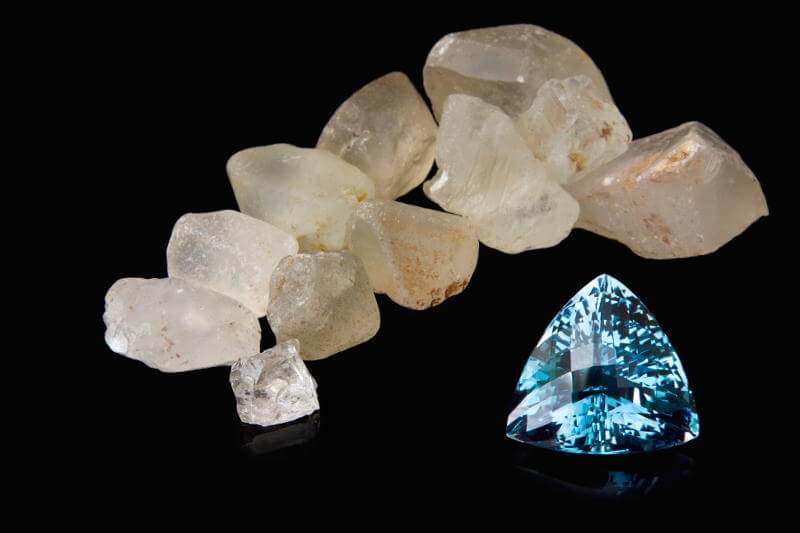 Topaz - November Birthstone - Rough and Polished