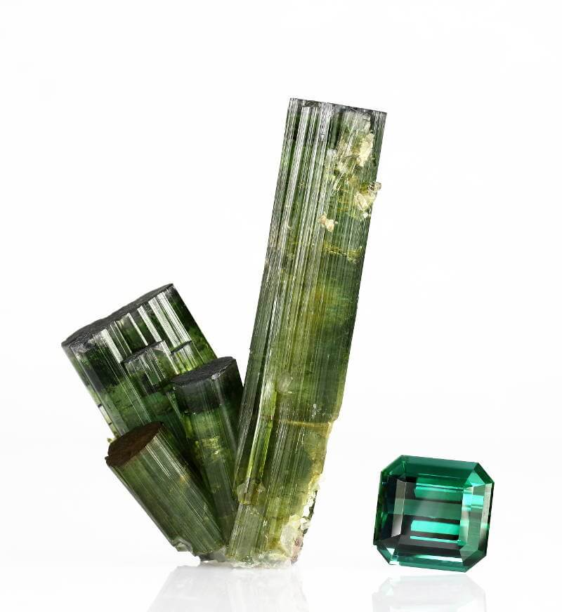 Tourmaline crystals and gem