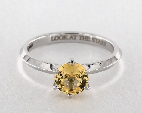 solitaire yellow sapphire engagement ring in white gold