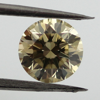 Fancy Brownish Greenish Yellow Diamond, Round, 0.75 carat, VS2 - B