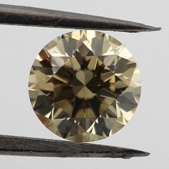 Fancy Brownish Greenish Yellow Diamond, Round, 0.75 carat, VS2