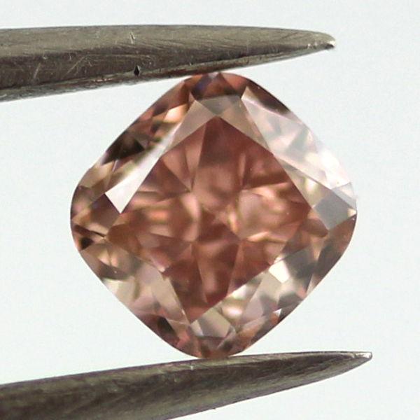 Fancy Brownish Orangy pink Diamond, Cushion, 0.33 carat, VVS2